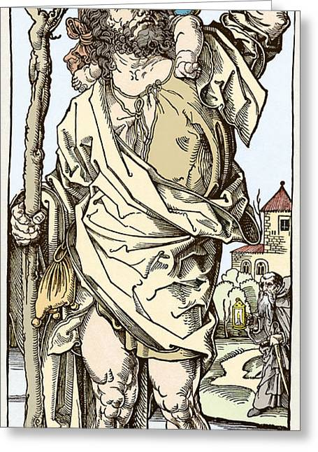 Saint Christopher Carrying Christ Child Greeting Card