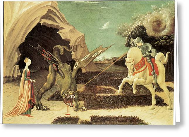 Saint George And The Dragon Greeting Card by Paolo Uccello