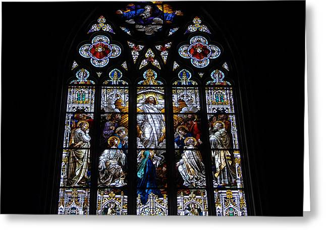 Saint Johns Stained Glass Greeting Card by David Lee Thompson