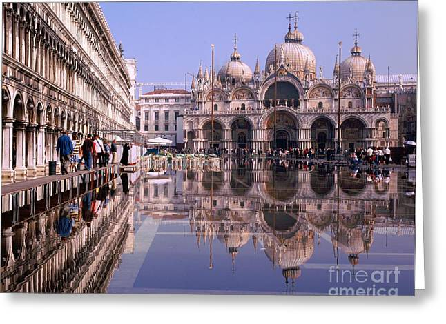 Saint Mark Square Under Water Greeting Card by Serge Fourletoff