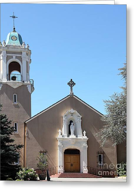 Saint Patrick's Church - Larkspur California - 5d18470 Greeting Card by Wingsdomain Art and Photography