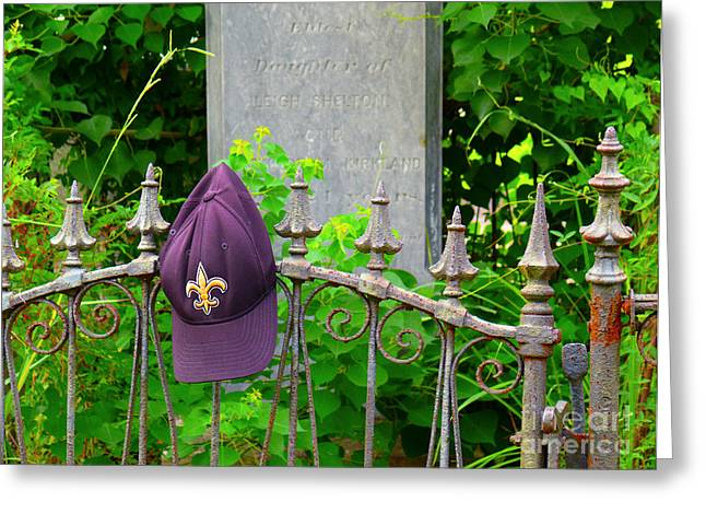 Greeting Card featuring the photograph Saints Hat On Iron Fence by Jeanne  Woods