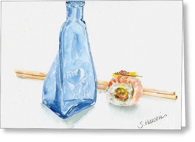 Sake And Sushi Greeting Card by Sheryl Heatherly Hawkins