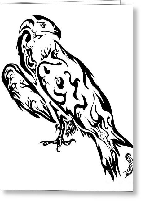 Saker Falcon Greeting Card by Santi Goma Rodriguez