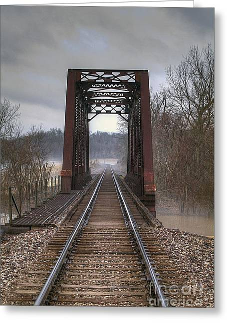 Saline Creek Railroad Bridge Greeting Card by Larry Braun