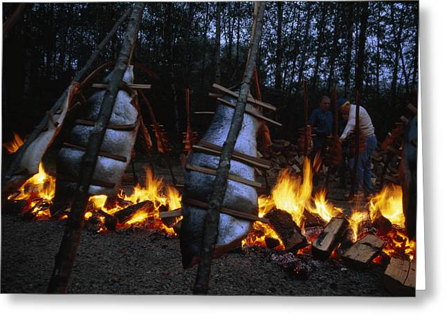 Salmon Bake Around A Bonfire At Depoe Greeting Card by Phil Schermeister