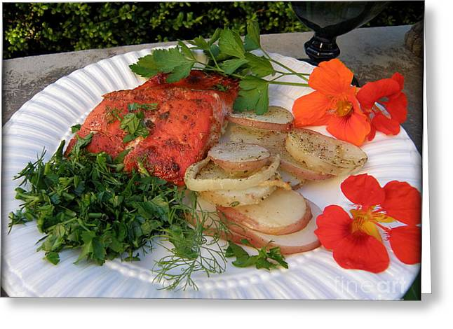 Salmon Dinner Greeting Card