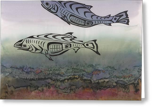 Salmon Stream Greeting Card by Carolyn Doe