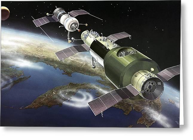Salyut 1 Space Station, Artwork Greeting Card by Ria Novosti