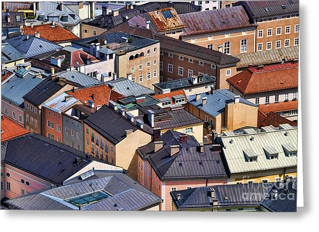 Salzburg's Roofs Austria Europe Greeting Card by Sabine Jacobs