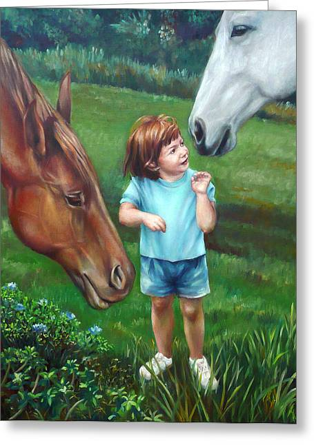 Greeting Card featuring the painting Samantha Becomes An Equestrian by Nancy Tilles