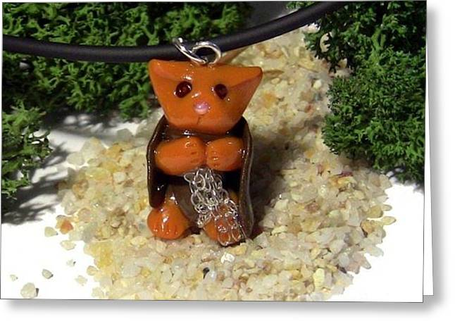 Samwise Kitty Lord Of The Rings Parody Necklace Greeting Card by Pet Serrano