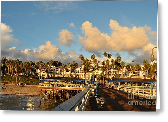 San Clement Pier And Coast Greeting Card by Timothy OLeary