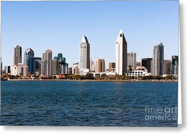 San Diego City Skyline Greeting Card by Paul Velgos