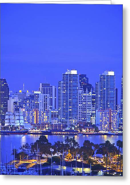 San Diego Skyline And Harbour Island Greeting Card by Stuart Westmorland