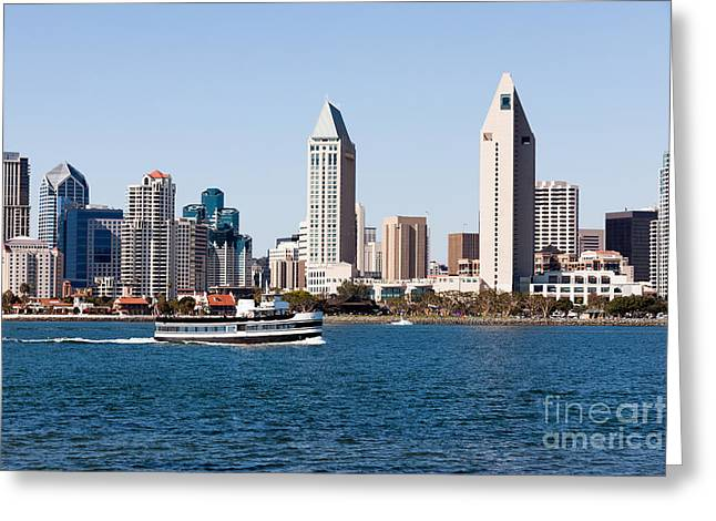 San Diego Skyline And Tour Boat Greeting Card