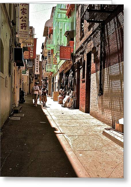 San Fran Chinatown Alley Greeting Card by Bill Owen