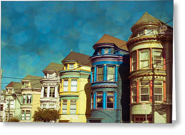 San Fran Row Houses Greeting Card by Sonja Quintero