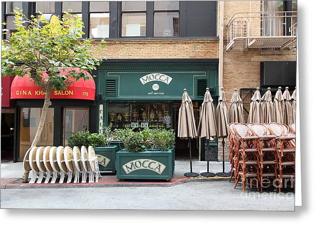 San Francisco - Maiden Lane - Mocca Cafe - 5d17788 Greeting Card by Wingsdomain Art and Photography