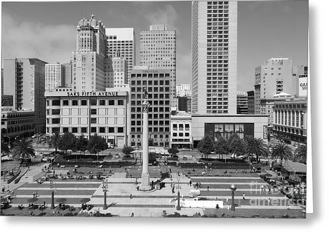 San Francisco - Union Square - 5d17938 - Black And White Greeting Card