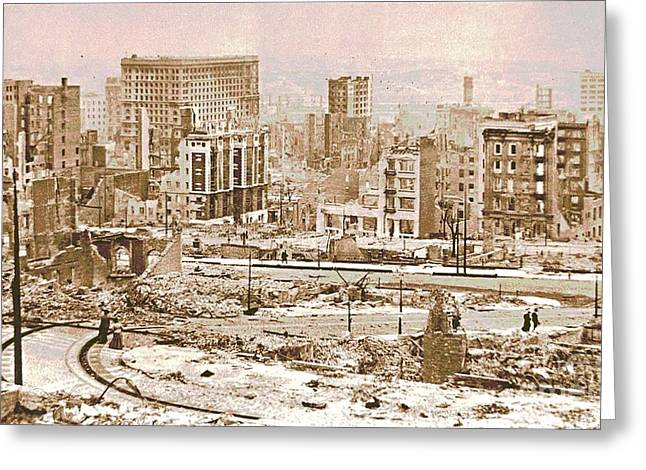 San Francisco After The 1906 Earthquake Greeting Card by Padre Art