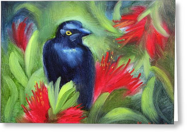 San Francisco Black Bird Greeting Card by Karin  Leonard