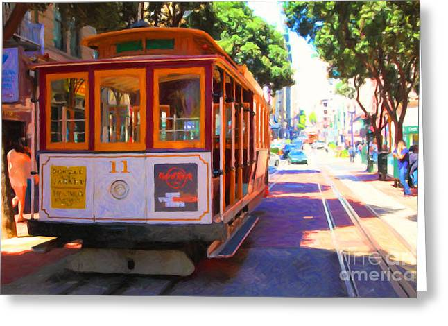 San Francisco Cable Car At The Powell Street Cable Car Turnaround - 5d17962 - Painterly Greeting Card by Wingsdomain Art and Photography