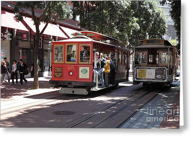 San Francisco Cable Cars At The Powell Street Cable Car Turnaround - 5d17959 Greeting Card by Wingsdomain Art and Photography