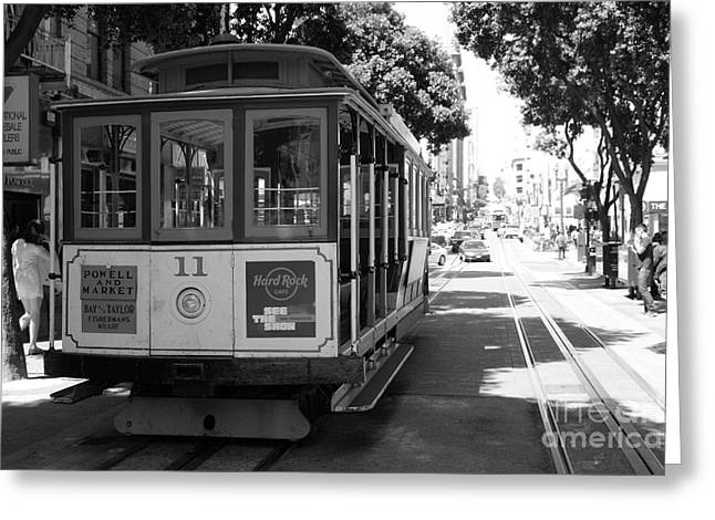 San Francisco Cable Cars At The Powell Street Cable Car Turnaround - 5d17962 - Black And White Greeting Card by Wingsdomain Art and Photography