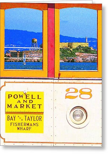 San Francisco Cablecar 28 . Alcatraz Greeting Card