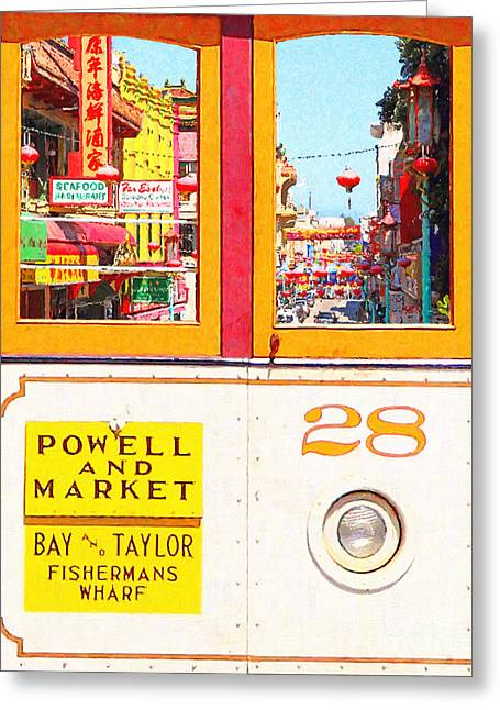 San Francisco Cablecar 28 . Chinatown Greeting Card by Wingsdomain Art and Photography