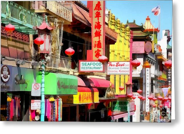 San Francisco Chinatown . 7d7174 Greeting Card by Wingsdomain Art and Photography