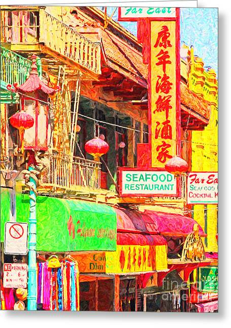 San Francisco Chinatown Shops Greeting Card by Wingsdomain Art and Photography
