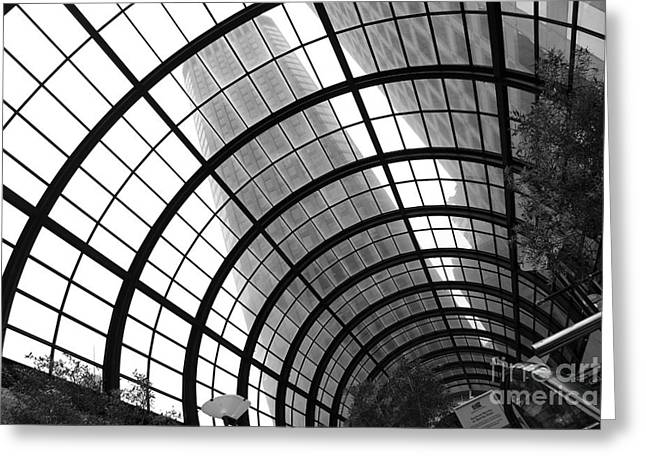 San Francisco Crocker Galleria - 5d17869 - Black And White Greeting Card by Wingsdomain Art and Photography