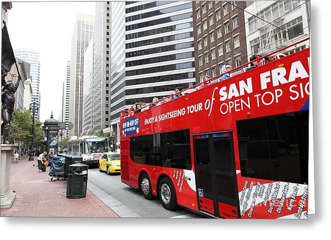 San Francisco Double Decker Tour Bus On Market Street - 5d17844 Greeting Card by Wingsdomain Art and Photography