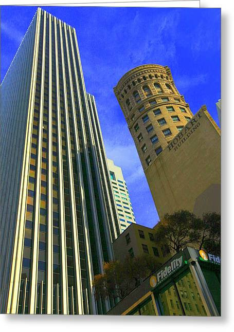 Greeting Card featuring the photograph San Francisco Financial District by Linda Edgecomb