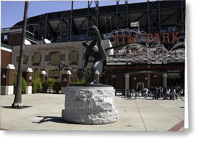 San Francisco Giants Ballpark  Statue Of Juan Marichal Greeting Card