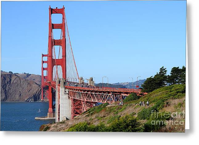 San Francisco Golden Gate Bridge . 7d8158 Greeting Card by Wingsdomain Art and Photography