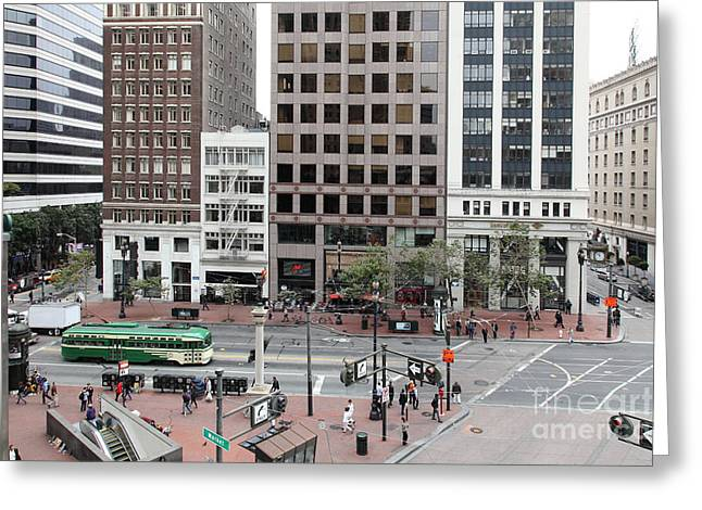 San Francisco Market Street - 5d17877 Greeting Card by Wingsdomain Art and Photography