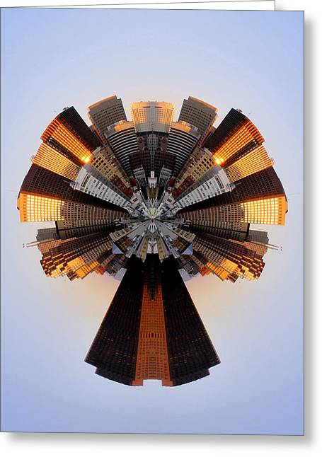 San Francisco Samourai - Stereographic Greeting Card by Cedric Darrigrand