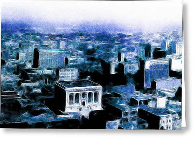 San Francisco Skyline Panorama 1909 From The Ferry Building Through South Of Market . Blue Greeting Card by Wingsdomain Art and Photography