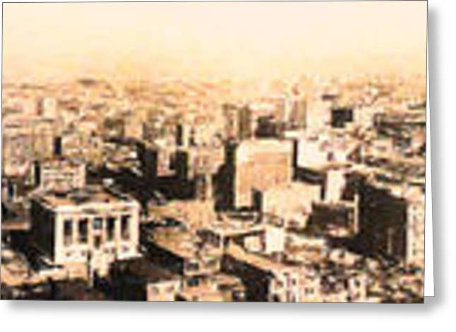 San Francisco Skyline Panorama 1909 From The Ferry Building Through South Of Market Greeting Card by Wingsdomain Art and Photography