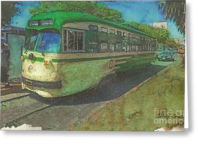 San Francisco Street Car Greeting Card by Jerry Grissom