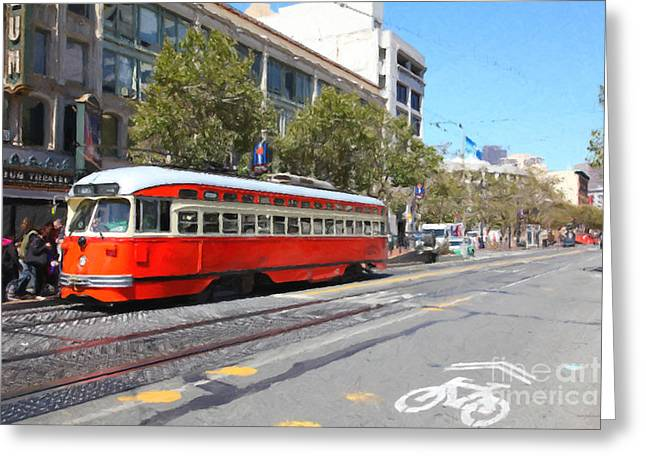 San Francisco Streetcar At The Orpheum Theatre - 5d17998 - Painterly Greeting Card by Wingsdomain Art and Photography