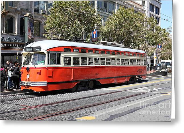 San Francisco Streetcar At The Orpheum Theatre - 5d17999 Greeting Card