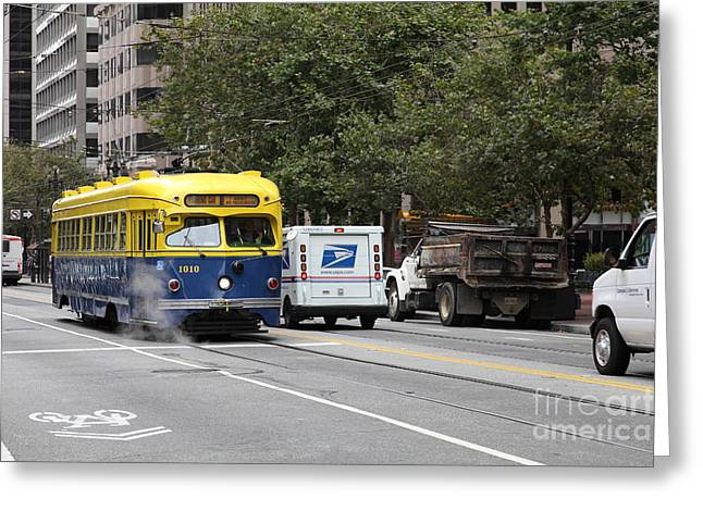 San Francisco Vintage Streetcar On Market Street - 5d17849 Greeting Card by Wingsdomain Art and Photography