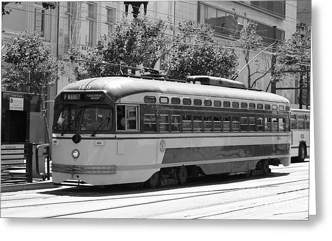 San Francisco Vintage Streetcar On Market Street - 5d17972 - Black And White Greeting Card by Wingsdomain Art and Photography
