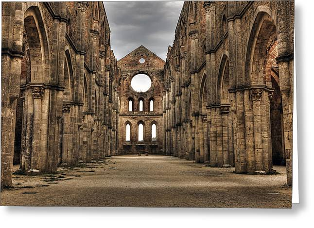 San Galgano  - A Ruin Of An Old Monastery With No Roof Greeting Card by Joana Kruse