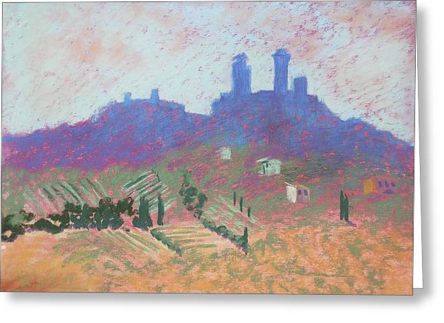 San Gimignano Greeting Card by Janet Biondi