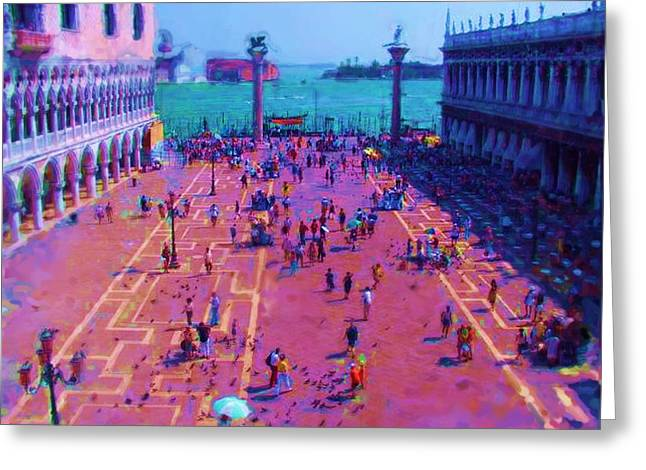San Marco Place Palais Des Doge To The Left In Venice Greeting Card